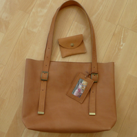 Leather tote, shopping bag, veg tan leather shoulder bag with adjustable handles