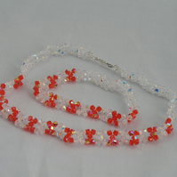 Hyacinth and clear crystal necklace and bracelet set (135)