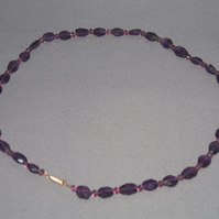 Amethyst and Swarovski crystal necklace (1)