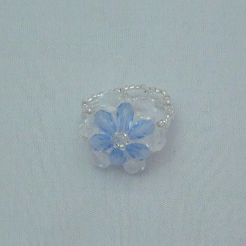 Blue crystal round ring (276)