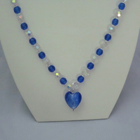 Blue crystal necklace with heart pendant (282)