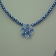 Blue glass pearl necklace with crystal flower pendant (327)