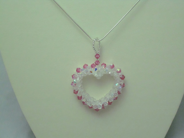 Crystal heart necklace with sterling silver chain (307)