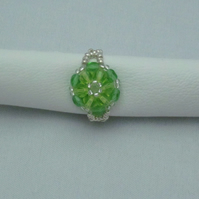 Round crystal ring - green (291)