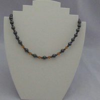 Hematite and Swarovski crystal necklace - topaz (79)