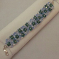Blue and green crystal bead bracelet (78)