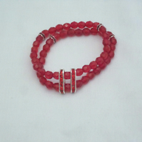 Red crystal and rhinestone spacer bracelet (387)