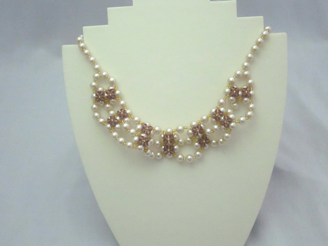 Champagne glass pearl and amethyst crystal necklace