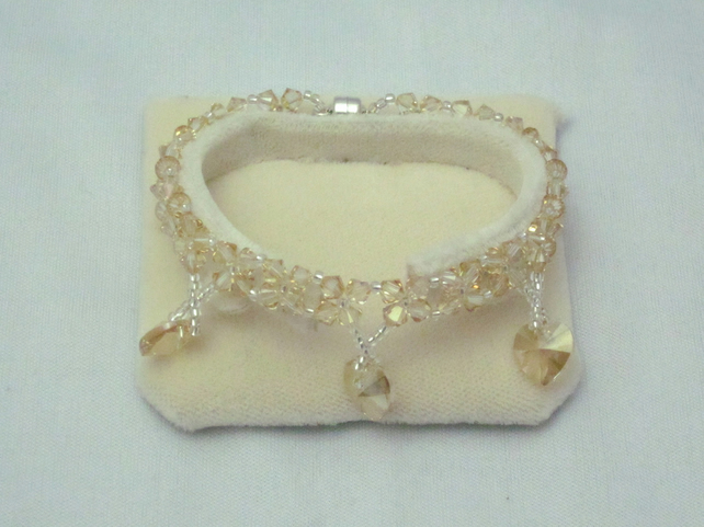 Swarovski golden shadow crystal bracelet with heart charms (414)