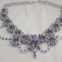 Tanzanite crystal and lavender glass pearl decorative necklace (444)