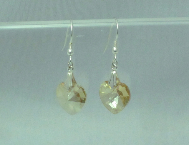 Golden shadow Swarovski crystal heart drop earring (424)