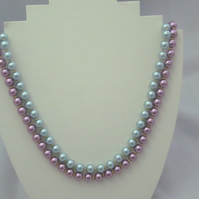 Light blue and purple glass pearl necklace (486)