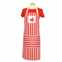 Red Cat Striped Apron with Pocket