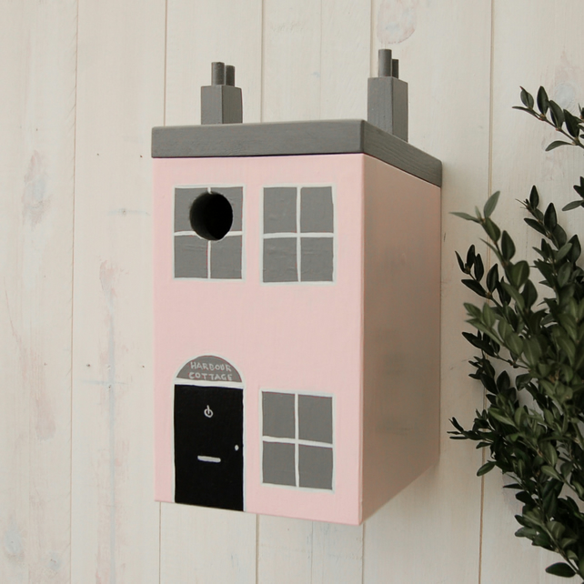 Seaside Cottage Pink Painted Bird Box