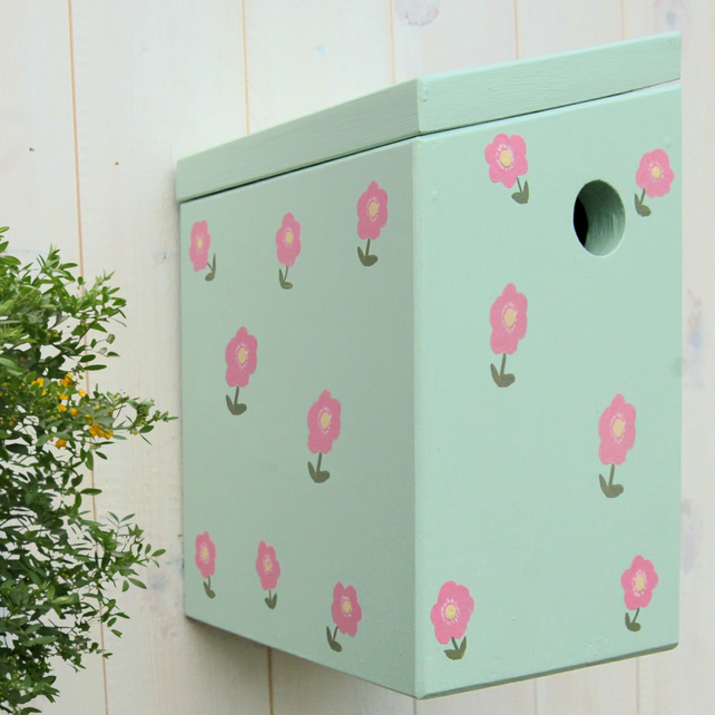 Country Garden Mint Green Painted Bird Box
