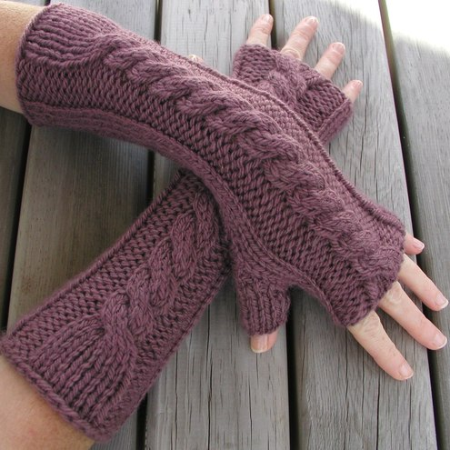 Continental Knitting Patterns : Hand Knitted Fingerless Gloves / Arm Warmers - Folksy