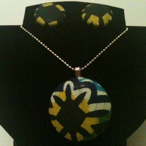 African Fabric button Jewellery set