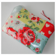 Cath Kidston Patchwork Oilcloth Fabric Purse Rose Polka Dots Hearts Chintz