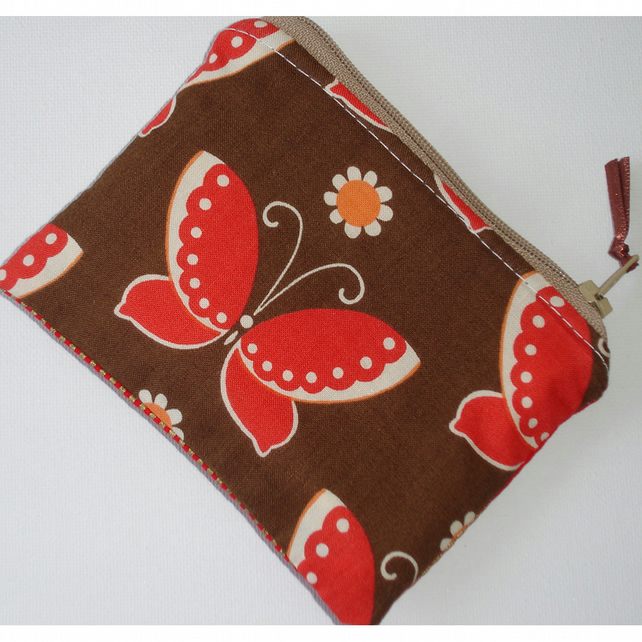 Brown Red and Orange Buterfly Purse Butterflies Vintage Retro Fabric