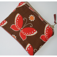 Brown Red and Orange Buterfly Purse Butterflies Vintage Retro