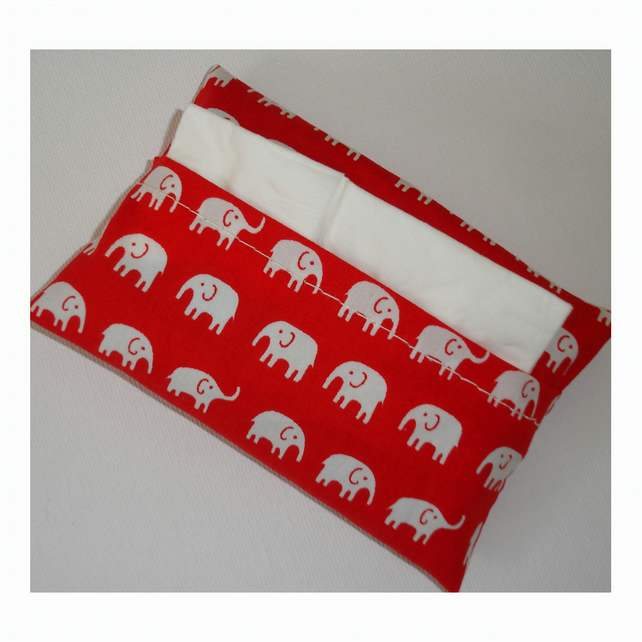 Handbag Pocket Tissue Holder Red and White Elephants