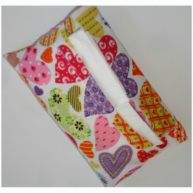 Handbag Pocket Tissue Holder Pink Purple Hearts Heart Sweetheart Love