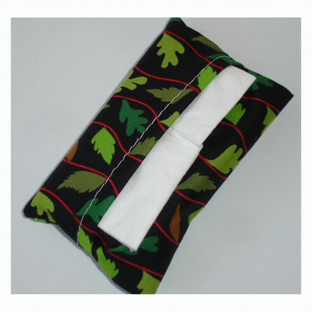 Handbag Pocket Tissue Holder Autumn Leaves Green Brown Leaf