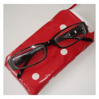 Red and White Polka Dots PVC Reading Glasses Spectacles Zipped Specs Spots Case