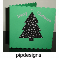 Christmas Card - Black and Silver Stars Tree