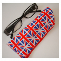 Union Jack Glasses Sleeve Case With Magnetic Clasp Red White And Blue