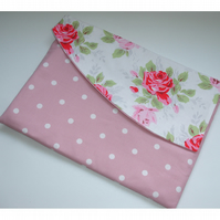 "13"" Macbook Air Case Zipped Flap Cath Kidston Classic Rose Pink Polka Dots Roses"