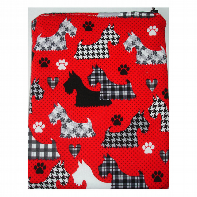 "Kindle Fire 7"" HD Nexus 7 Tablet Case Westies Terriers Red Black Tartan Dog Dogs"