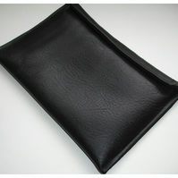 "Tablet or Kindle Fire HD or HDX 7"" Black Faux Leather Grained Leatherette Velcro"