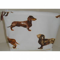 Sausage Dog Dachshund Toiletries Cosmetic Bag Large Make Up Purse Daschund Doggy