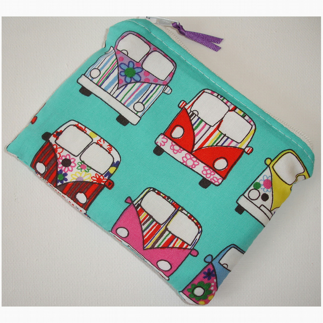 Purse Retro Funky Campervans Camper Van Vans Purple Red Aqua Orange