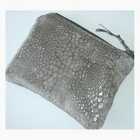 Grey Snakeskin Coin Purse Fake Snake Skin Soft Velvet Animal Print