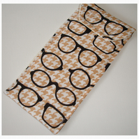Glasses Case Black Geek Glasses on Beige Houndstooth Velcro Tab