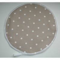 Aga Hob Lid Mat Pad Hat Round Cover Surface Saver Taupe Brown White Polka Dots