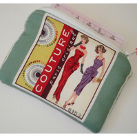 Couture Dress Pattern Zipped Coin Credit Card Purse