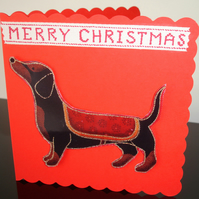 Christmas Card Dachshund Red Daschund