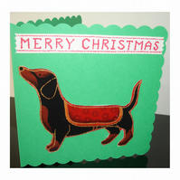 Christmas Card Dachshund Green Daschund Xmas Dogs