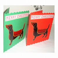 Pack of 2 Christmas Cards Dachshund Daschund Xmas Dogs