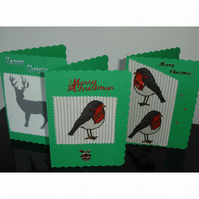 A Pack of Three Christmas Cards Robins and Reindeer x 3