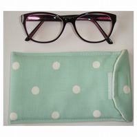 Glasses Case Turquoise and White Polka Dots