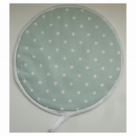Aga Hob Lid Mat Pad Hat Round Cover Surface Saver Duck Egg White Polka Dot Spot