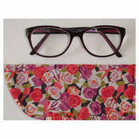 Purple Pink Rose Scissors Glasses Case Liberty Fabric Spectacles Sleeve