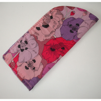 Purple and Pink Pansies Glasses Case Liberty Fabric Spectacles Sleeve