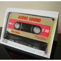 Retro Cassette Audio Tape Blank Greetings Card Notelet