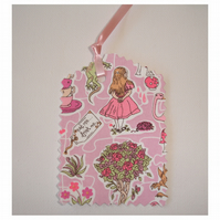 3 Alice in Wonderland Gift Tags Three Liberty Fabric Tag Set