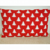 Oblong Bolster Red Christmas Cushion Cover
